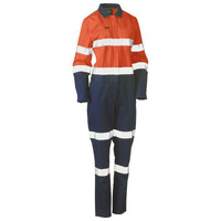Bisley Women's Taped Hi Vis Cotton Drill Coverall