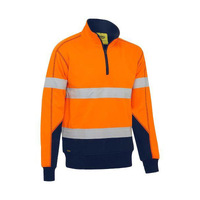 Bisley Taped Hi Vis 1/4 Zip Fleece Pullover with Sherpa Lining