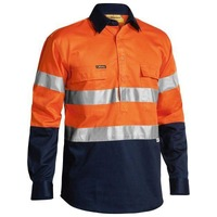 Bisley Taped Hi Vis Closed Front Drill Shirt