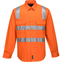 Prime Mover Hi-Vis Regular Weight Long Sleeve Shirt with Tape over Shoulder
