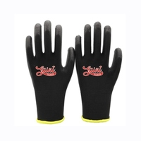 Saint 13 Gauge Black Polyester PU Palm Coated Work Gloves 1x Pair