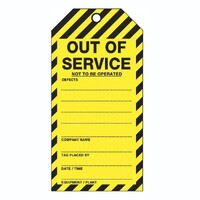 Out Of Service As Per TOS51TP Tear Proof Tags 100x Pack