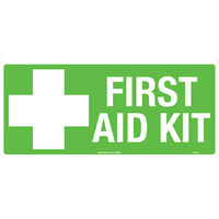 First Aid Kit Safety Sign 300x140mm Self Adhesive
