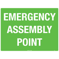 Emergency Assembly Point Safety Sign 600x450mm Poly