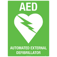 AED with Symbol Safety Sign White/Green 300x225mm Poly