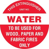 Fire Extinguisher Marker Water Red Safety Sign 200mm Disc Poly
