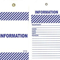 Blue Information Tags with string Pack of 25